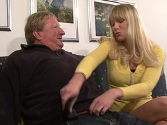 Gung-ho blonde babe does old tramp a favour