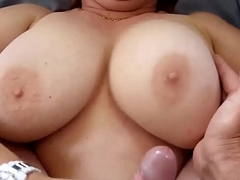 Cumming On all sides Over her Chunky Milf Titties