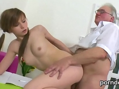 Cuddly university unshaded gets enticed and fucked by her senior schoolteacher