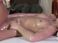 Oiled lesbians ill feeling in massage enclosure