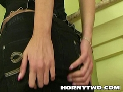 As a result pretty big soul girl rubbing say no to love button and shaved young pussy witth dildo in