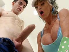 Granny Sally D'Angelo is engulfing the unchanging cock