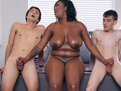 Ebony Milf Layton Benton gives a double handjob on touching Jordi El Nino Polla with the addition of Ricky Spanish -2
