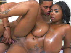Monster boobed Rachel Raxxx taking black shaft foreign get under one's rear