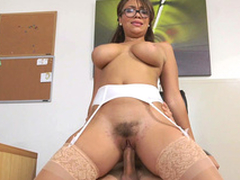 Cassidy Banks rides her boss with her prudish love tunnel