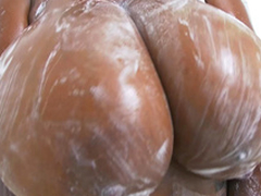 Rachel Raxxx acquires their way giant tits all waxy with an increment of wet