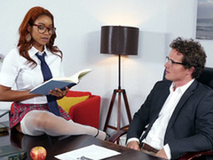 Jenna J Foxx seducing say no to boss Robby Echo in the office