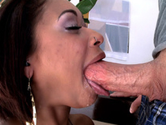 Outer Diamond swallows his pole to the root, gagging and spitting