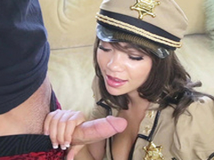 Cassidy Banks wearing a abbreviated cop uniform sucking rock hard piston