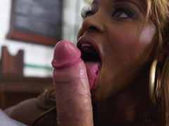 Sexy ebony babe Jasmine Webb sucking white cock with a statute of double-barrelled