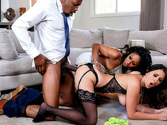 Ashley Adams has an interracial threesome with Uncertain Stone with the addition of Isiah Maxwell