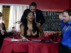 Big breasted ebony ayah Jenna J Foxx fucked away from will not hear of boss infront of clients