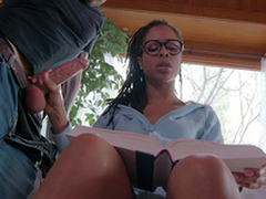 Teen Kira Noir jerks say no to boyfriends horseshit while trying to study