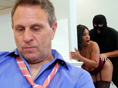 Hotwife Aryana Adin fucked and facialized by a burglar
