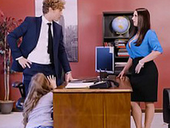 Lena Paul in office triune with two bosses and a despondent employee