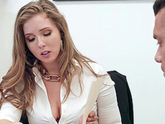Buxom blonde essayist Lena Paul receives cum on high huge tits on tap get under one's office