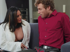 Asian cyclone MILF in boots Kaylani Lei gets a huge facial