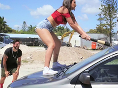 Hot Latina smashes her boyfriend's car and fucks a immigrant as A a revenge