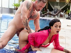 XXX SHADES - Latina with big booty Canela Skin loves hardcore pool sex