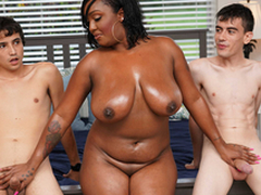 Ebony Mom Having Fun With Stepson with an increment of His Friend
