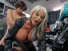 Permeate D'Angelo receives pounded by young Ricky Spanish next to her Harley