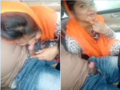 Indian Chick Sucking lover Dick On Car