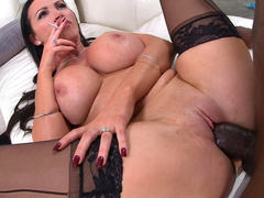 Black XXX actor spreads Nikki Benz's paws covered with stockings for sex