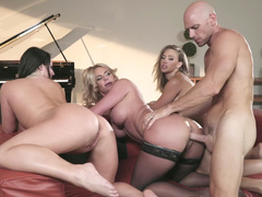Angela White and two girlfriends have a XXX foursome mainly the couch