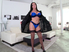 Canadian MILF Nikki Benz opens black robe and exposes blue XXX lingerie