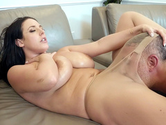 Good-looking MILF Angela White in torn pantyhose has cock in XXX crevice