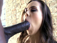 Pretty brunette Abril Gerald gladly sucks huge black XXX sausage