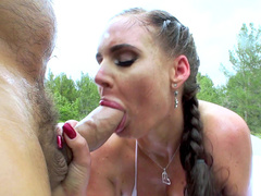 Excited Phoenix Marie blows fucker's XXX salami with enthusiasm