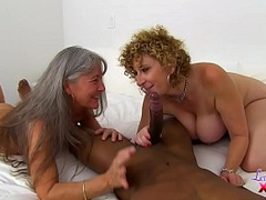 Busty Sara Jay and her old mom toddler themselves to black XXX blackjack