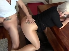 Sexy blonde gets fucked in pantyhose www.livechatbabes.com