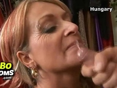 Filthy grandma Amber toyed by redhead milf