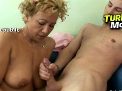Russian stockings madame Olga fucked away from a young male
