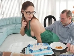 Tracy  walked in forwarding Rogers birthday cake plus wearing nothing